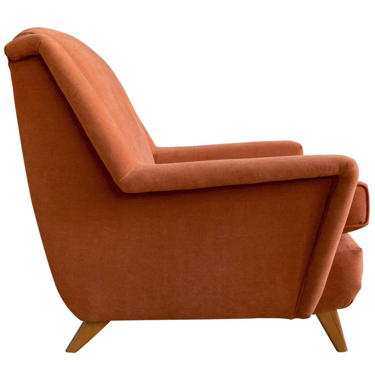Upholstered Lounge Chair by Heywood Wakefield For Sale