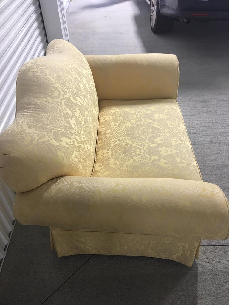 Upholstery Upholstered Loveseat in a Yellow Damask Fabric, 20th Century