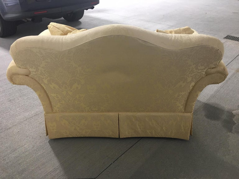 Upholstered Loveseat in a Yellow Damask Fabric, 20th Century 4