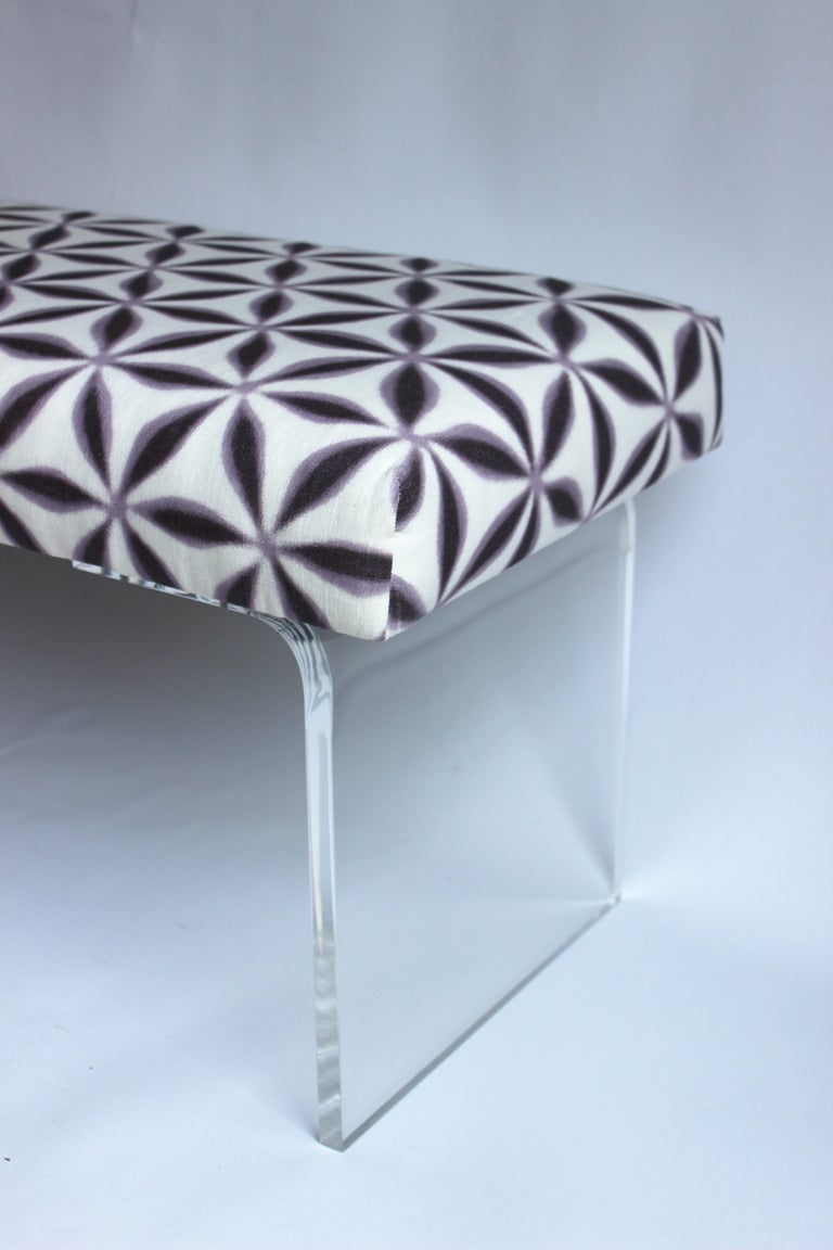 Upholstered Lucite Bench For Sale 1
