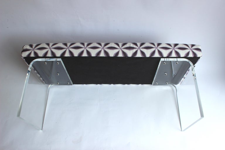 Upholstered Lucite Bench For Sale 3
