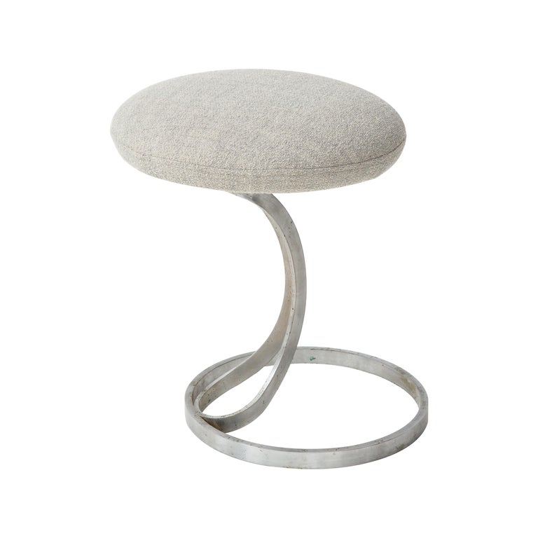 Upholstered Metal Stools by Boris Tabacoff For Sale