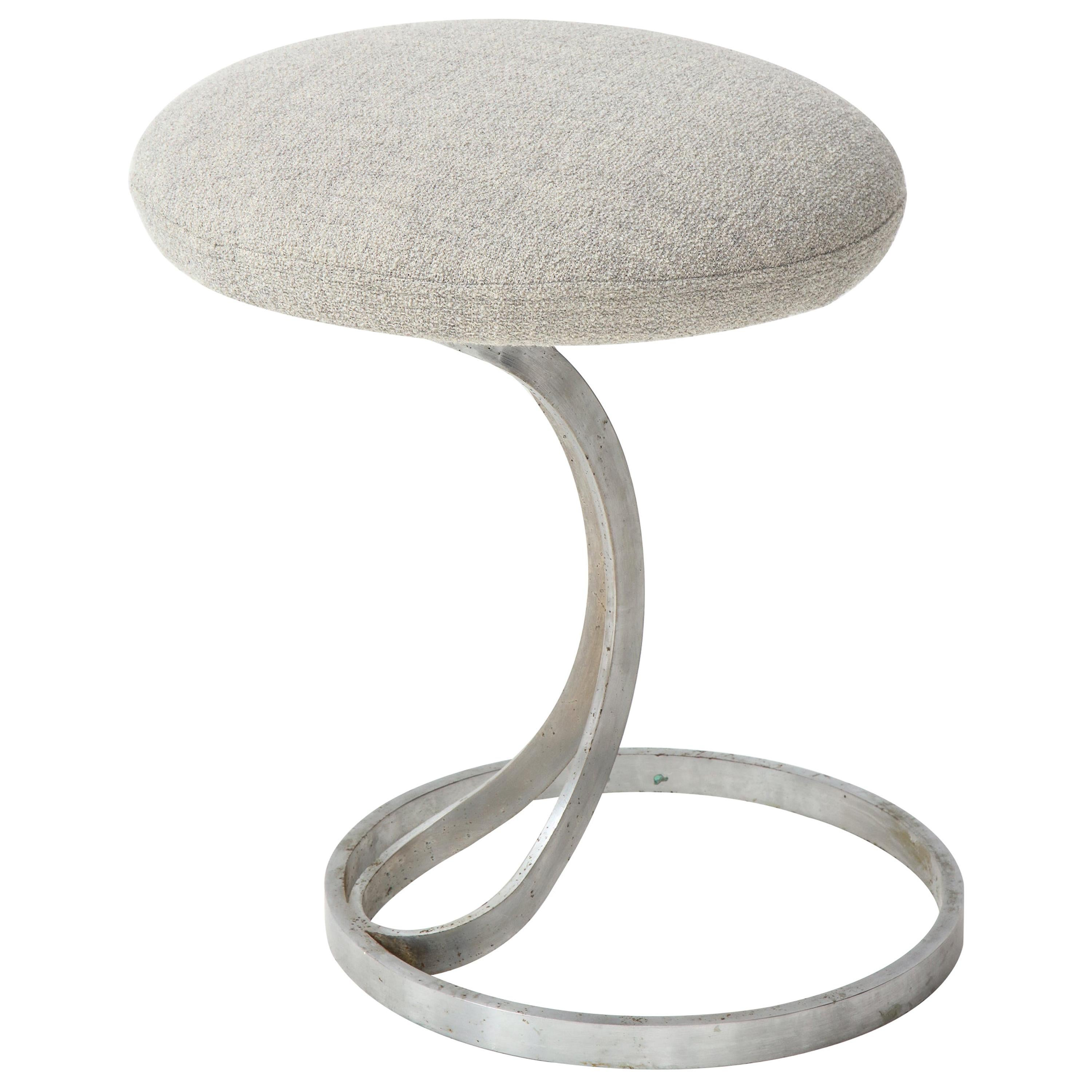 Upholstered Metal Stool by Boris Tabacoff