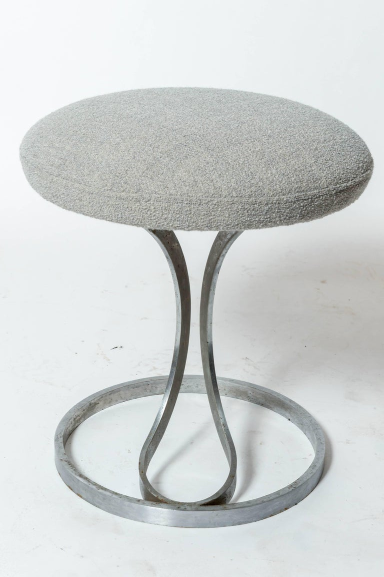 French Upholstered Metal Stools by Boris Tabacoff For Sale