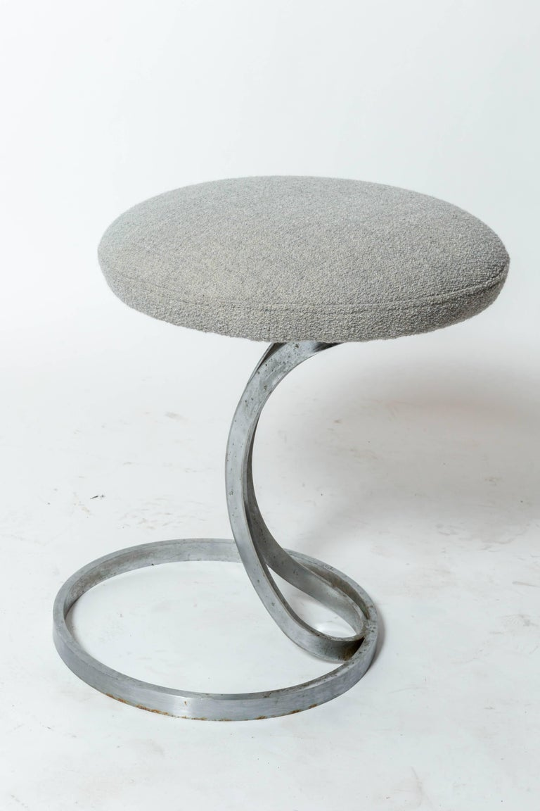 Upholstered Metal Stools by Boris Tabacoff In Good Condition For Sale In East Hampton, NY