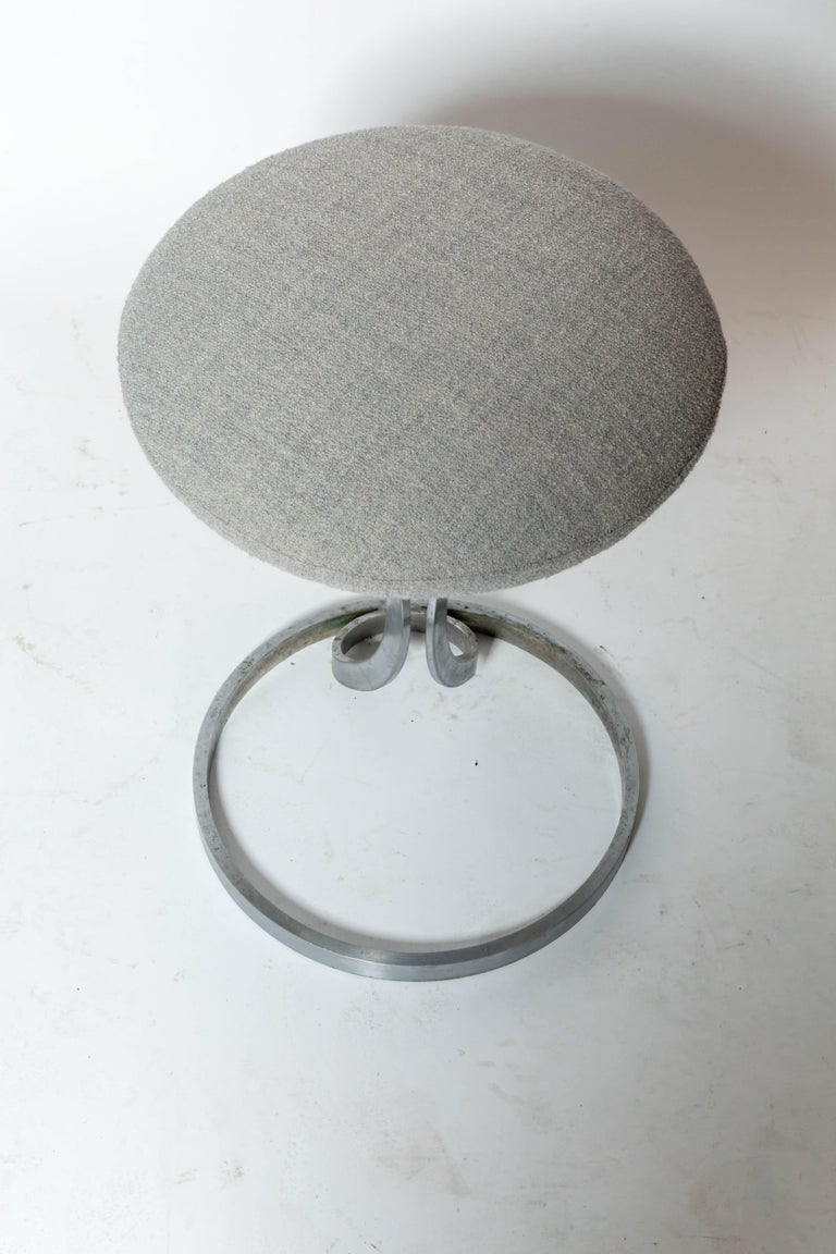 Late 20th Century Upholstered Metal Stools by Boris Tabacoff For Sale