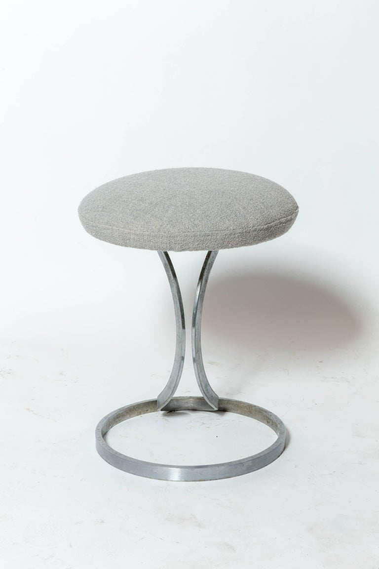 Upholstered Metal Stools by Boris Tabacoff For Sale 2