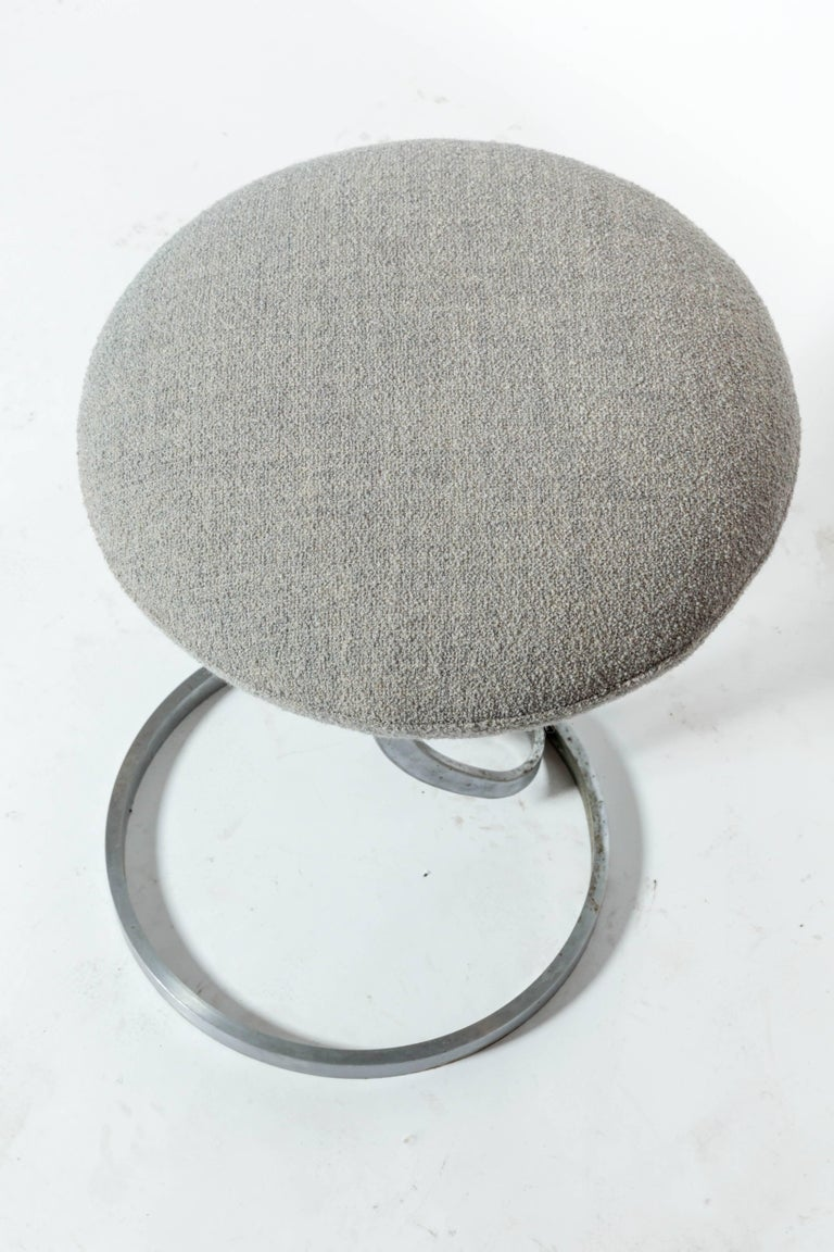 Upholstered Metal Stools by Boris Tabacoff For Sale 3