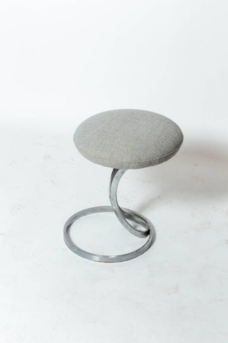 Upholstered Metal Stools by Boris Tabacoff For Sale 4
