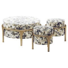 Upholstered Ottoman and Stool with Bronze-Patina Brass Details by R&Y Augousti