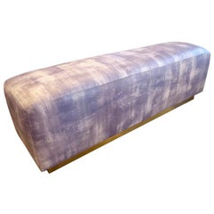 Upholstered Ottoman/Bench with Brass Base in the Style of Steve Chase