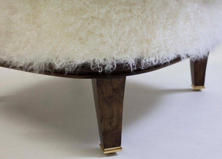 American Classical Upholstered Ottoman to Match Club Chair Shown in White Faux Skin and Wood Legs For Sale