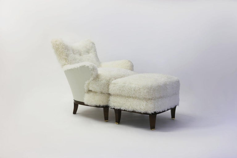American Upholstered Ottoman to Match Club Chair Shown in White Faux Skin and Wood Legs For Sale