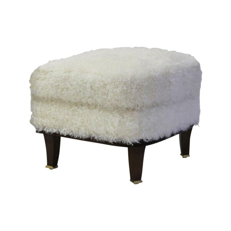 Upholstered Ottoman to Match Club Chair Shown in White Faux Skin and Wood Legs