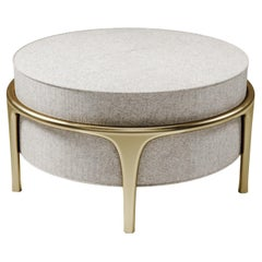 Upholstered Ottoman with Bronze-Patina Brass Details by R&Y Augousti