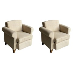 Upholstered Pair Club Chairs in Style of Adnet, France, 1940s