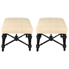 Upholstered Pair of Napoleon III Ebonized Foot Stools, France, 19th Century