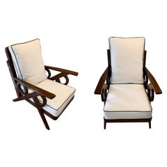 Upholstered Pair of Palisander Frame Armchairs, France, Midcentury