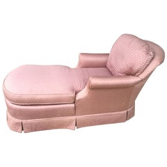 Upholstered Pink Skirted Chaise