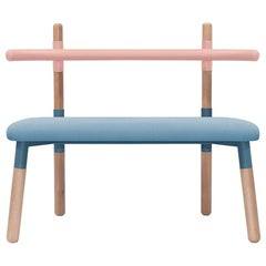 Upholstered PK14 Double Chair, Bicolor Structure and Wood Legs by Paulo Kobylka