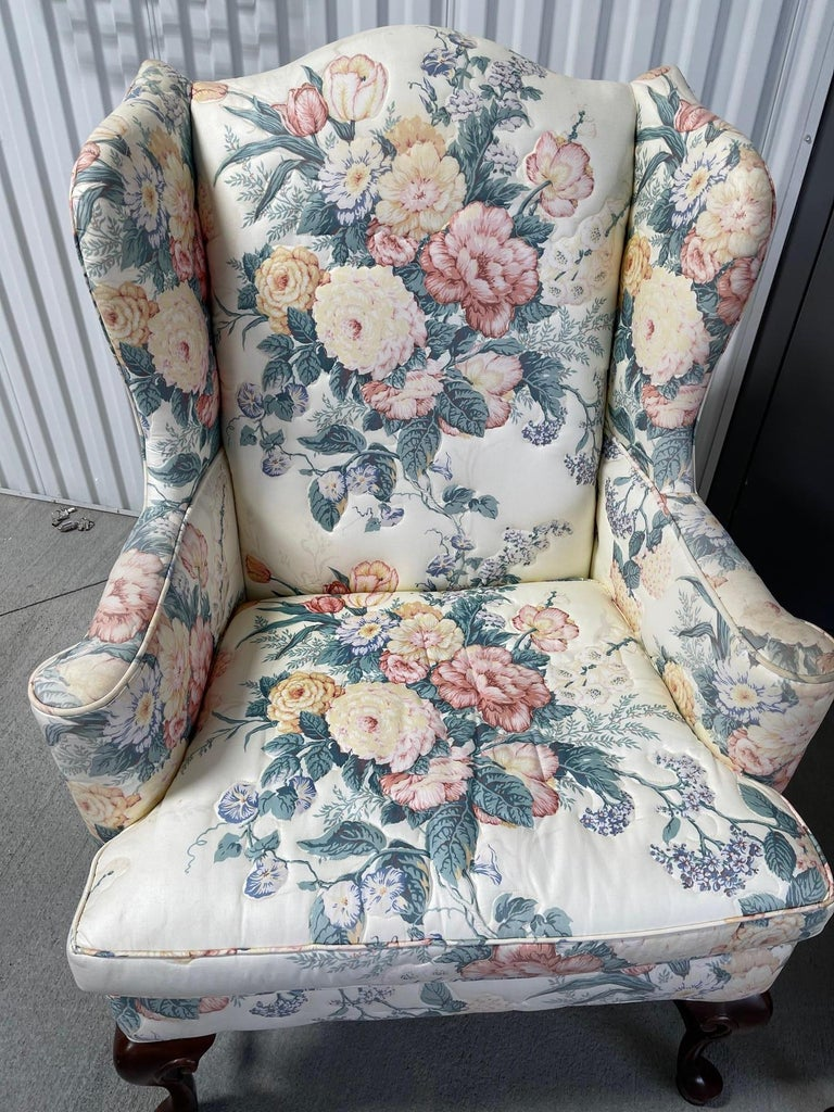 American Upholstered Queen Anne Style Wingback Chair with Pad Feet, 20th Century For Sale