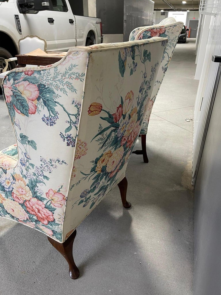 Upholstered Queen Anne Style Wingback Chair with Pad Feet, 20th Century In Good Condition For Sale In Savannah, GA