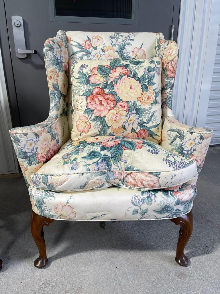 Mahogany Upholstered Queen Anne Style Wingback Chair with Pad Feet, 20th Century For Sale