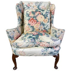 Upholstered Queen Anne Style Wingback Chair with Pad Feet, 20th Century