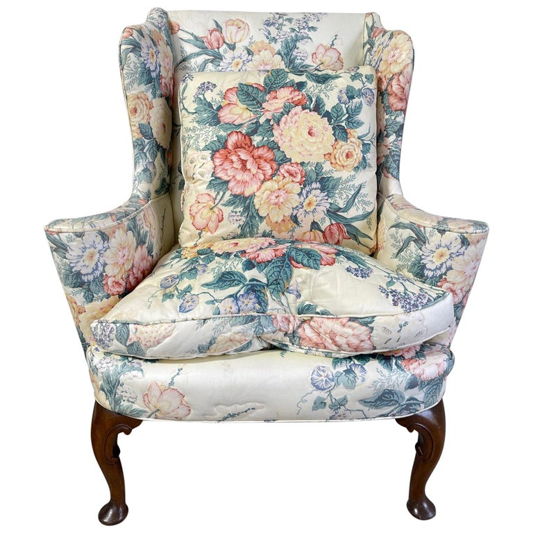 Upholstered Queen Anne Style Wingback Chair with Pad Feet, 20th Century For Sale