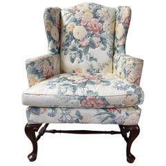 Upholstered Queen Anne Wingback Chair with Pad Feet and Stretcher, 20th Century