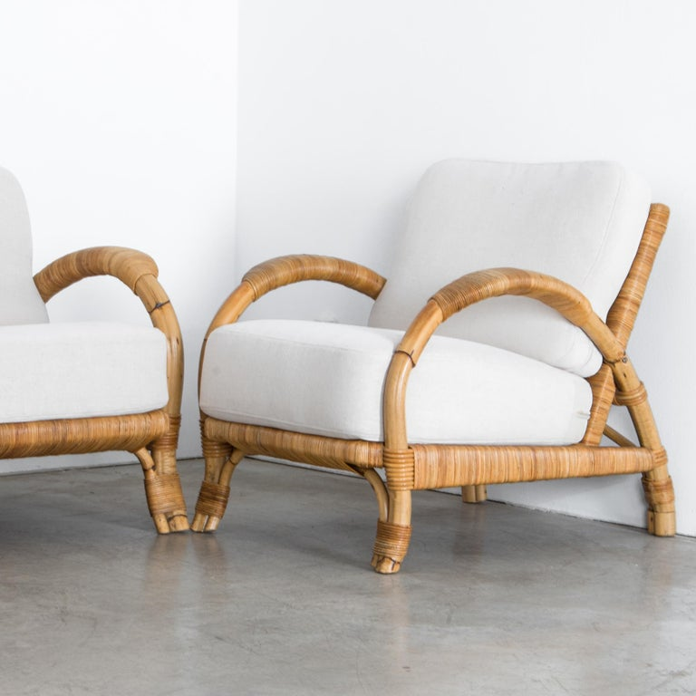 Late 20th Century Upholstered Rattan Sofa Set, Set of Three