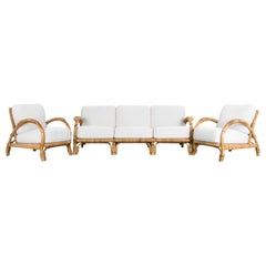 Upholstered Rattan Sofa Set, Set of Three