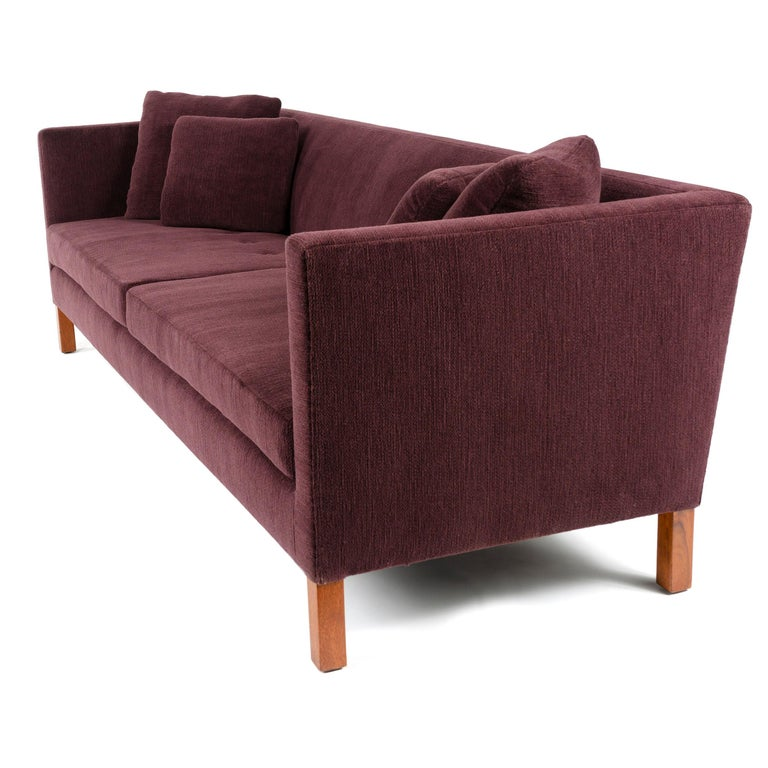 Mid-Century Modern Upholstered Square Arm Sofa by Edward Wormley for Dunbar For Sale