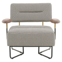 Upholstered Steel Houndstooth Lounge Chair, QT Chair