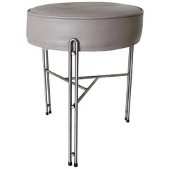Upholstered Stool in Gray Leather