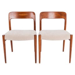 Upholstered Teak Chairs by Niels O. Moller No. 75, a Pair