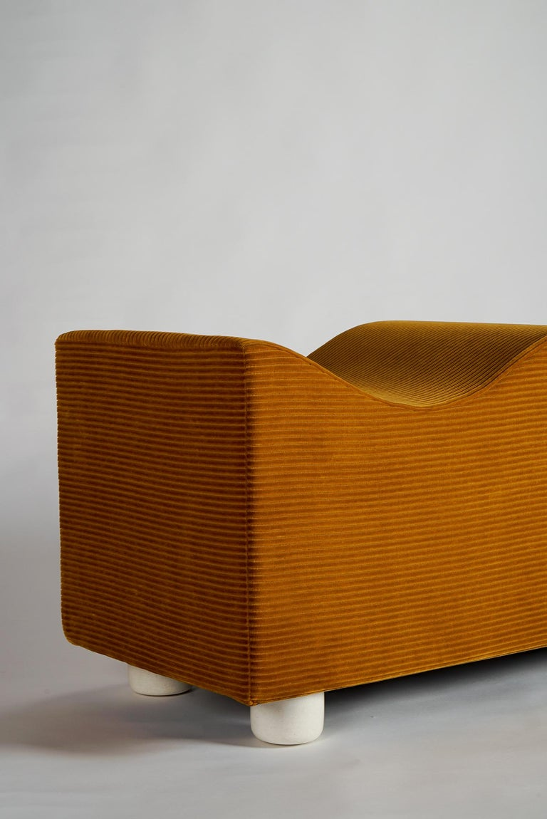 American Upholstered Wave Bench in Mustard Corduroy Kvadrat Fabric, Customizable For Sale