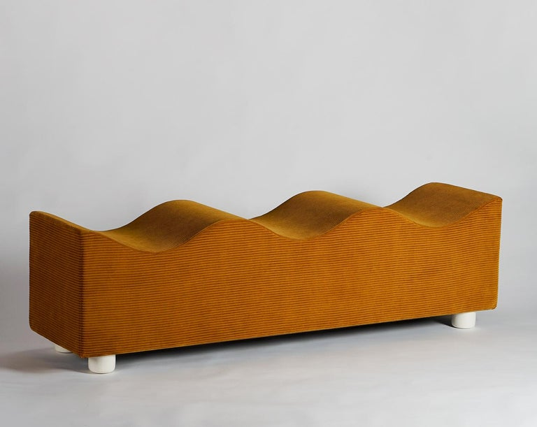 Contemporary Upholstered Wave Bench in Mustard Corduroy Kvadrat Fabric, Customizable For Sale