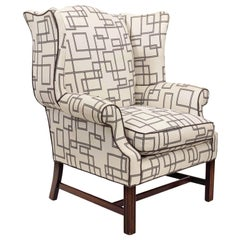 Upholstered Wingback Armchair with Contemporary Fabric