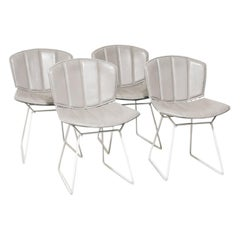 Upholstered Wire Dining Chairs by Harry Bertoia for Knoll
