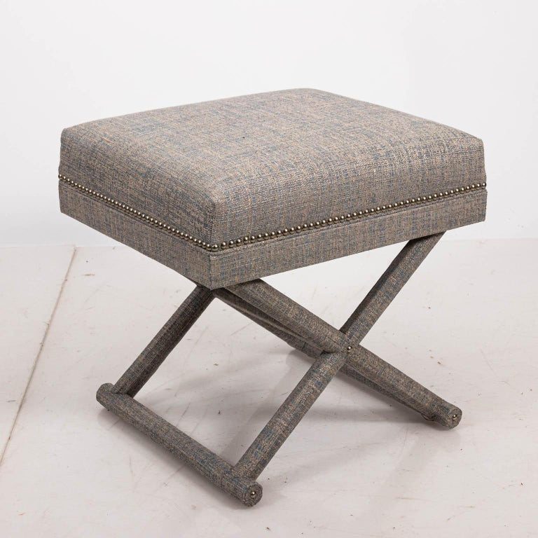 20th Century Upholstered X-Frame Bench For Sale