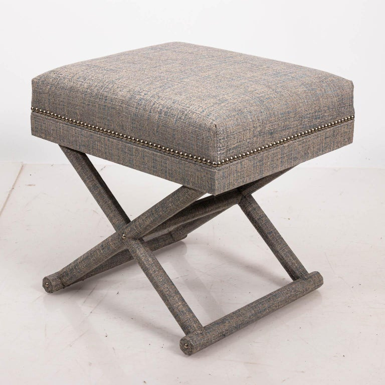 Upholstered X-Frame Bench For Sale 1