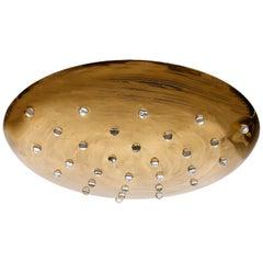 Uplight Bowl Flush Mount or Pendant Light, Brass Glass, 1960s