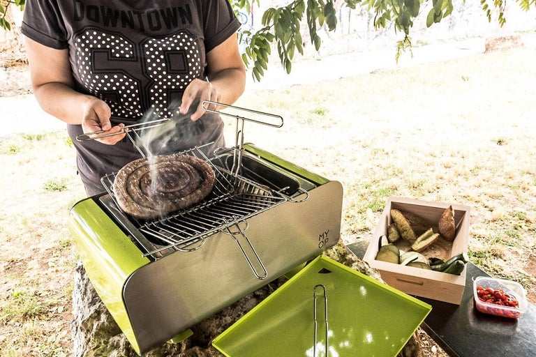 Upright Cooking Charcoal Barbecue, Grill Green For Sale 2