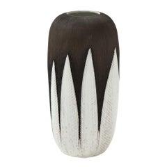 Upsala Ekeby Ceramic Paprika Vase Brown White Pottery Signed Sweden, 1960s
