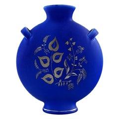 "Upsala-Ekeby / Gefle, Sweden, ""Silva"" Glazed Ceramic Vase with Silver Inlay"