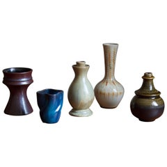 Upsala-Ekeby / Höganäs, Collection of Vases, Glazed Stoneware, Sweden, 1940s