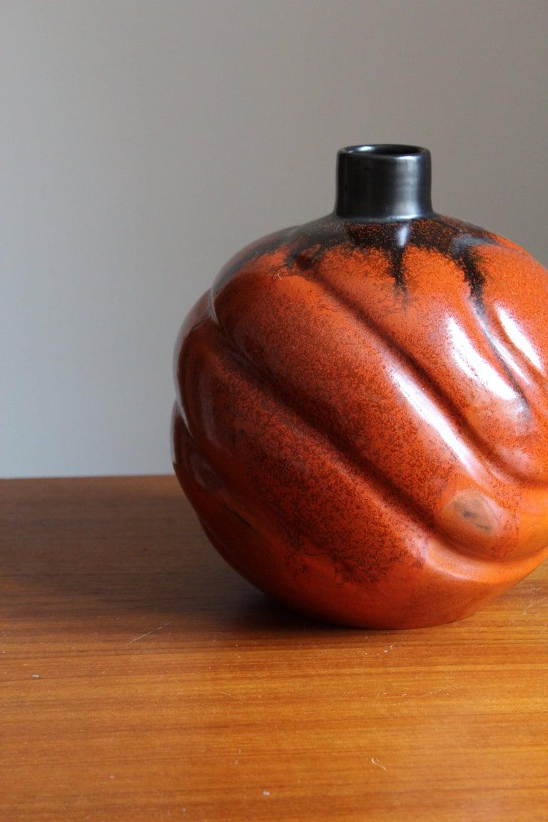 Art Deco Upsala-Ekeby, Large Organic Vase, Glazed Earthenware, Sweden, 1930s For Sale