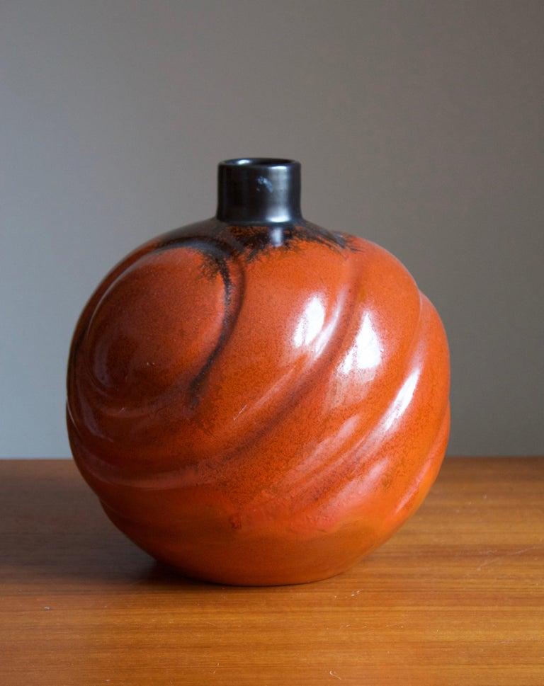 Swedish Upsala-Ekeby, Large Organic Vase, Glazed Earthenware, Sweden, 1930s For Sale