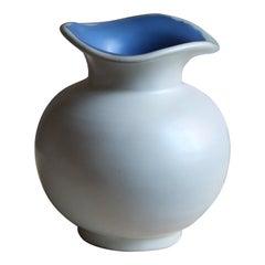 Upsala-Ekeby, Small Organic Vase, Glazed Blue / White Stoneware, Sweden, 1940s